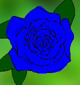 青いバラのイラスト