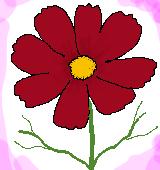赤いコスモスのイラスト