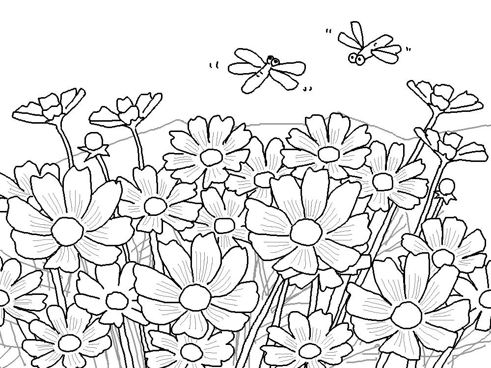 秋の塗り絵がスグ楽しめる簡単で楽しいイラストを描いてみたよ