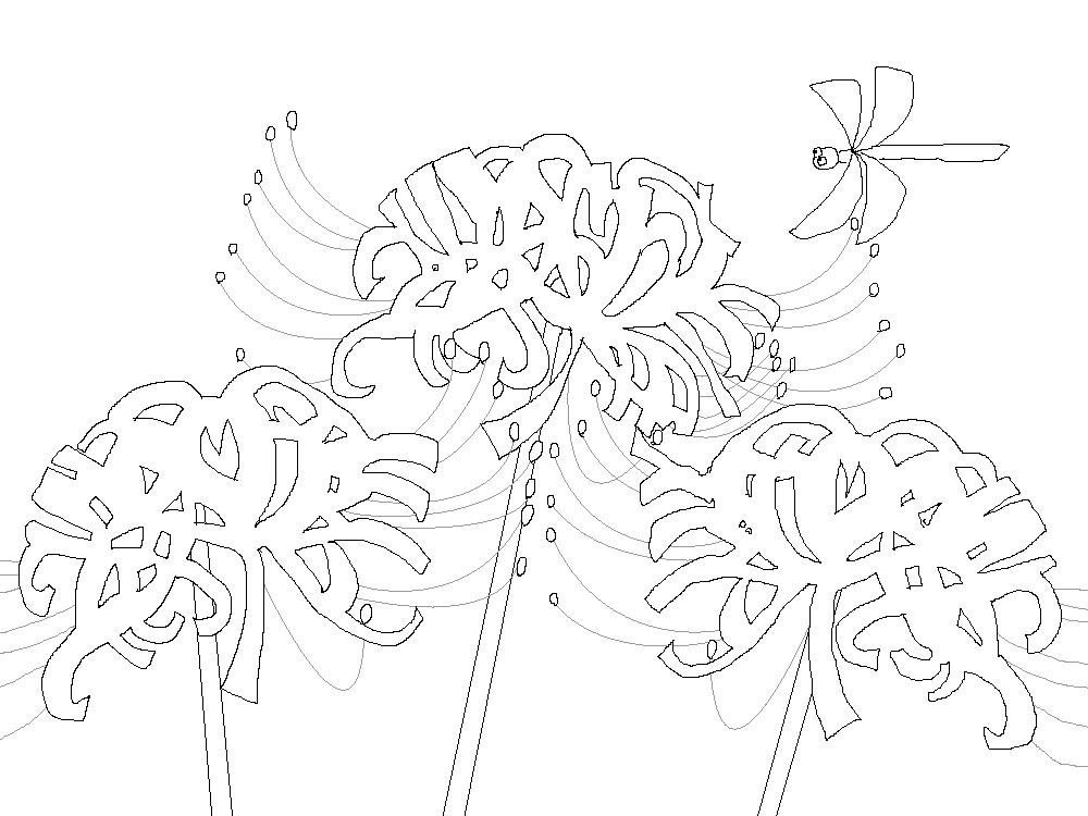 ヒガンバナ塗り絵