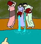 水汲みをする乙女たちのイラスト