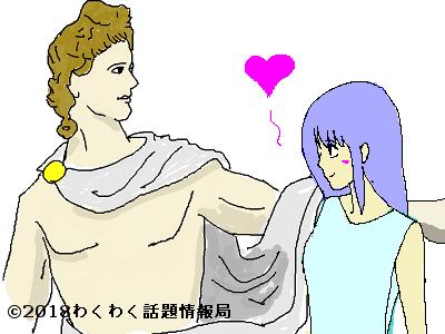 太陽神アポロンと水の妖精クリュティエのイラスト