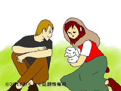 芝生に座る恋人同士のイラスト