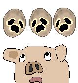 キンギョソウの果皮と豚のイラスト