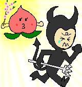 逃げ出す悪魔のイラスト