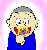 ライラックの花をもつ男性のイラスト