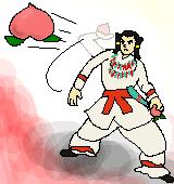 桃を投げつけるイザナギノミコトのイラスト