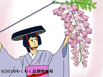 藤の花をもつ女性のイラスト