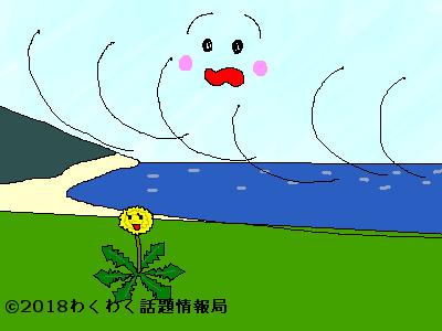 南風がタンポポに恋するイラスト