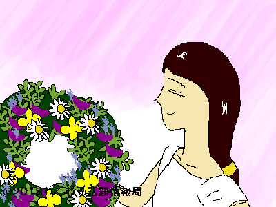花環を持つ女性のイラスト