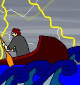 舟をこぐイラスト