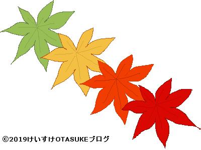 季節ごとに色を変えるカエデのイラスト