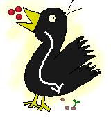 果実を食べる鳥のイラスト