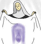 ベールを広げて持つ聖女ヴェロニカのイラスト