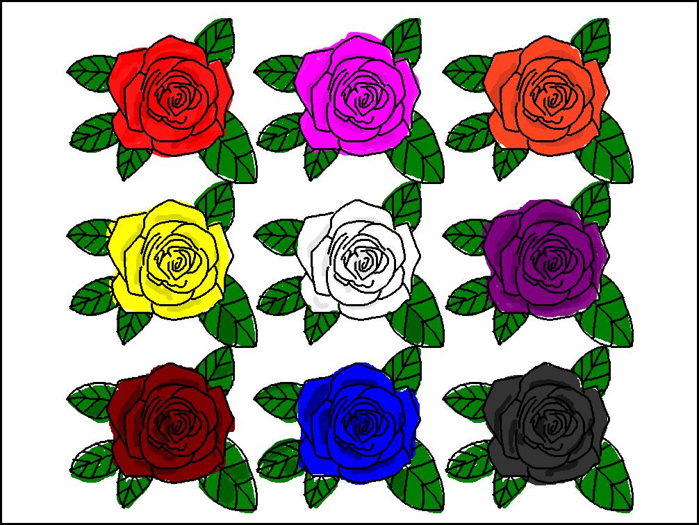 カラフルなバラのイラスト
