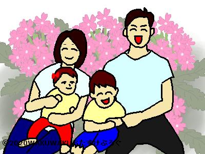 家族の花言葉タイトルイラスト