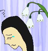 スノーフレークと悲しげな女性のイラスト