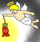 エンゼルランプの花と天使のイラスト